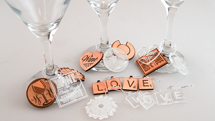 Wine charms created with a laser
