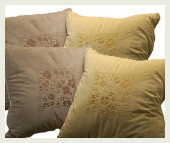 Laser etched microfiber pillows.
