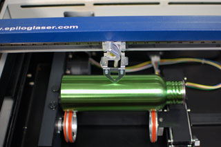 water bottle on a rotary engraver