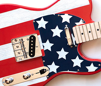 laser engraved custom stars and stripes guitar