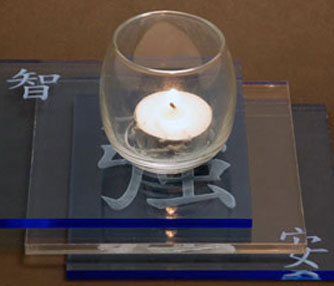 acrylic candle holder engraving