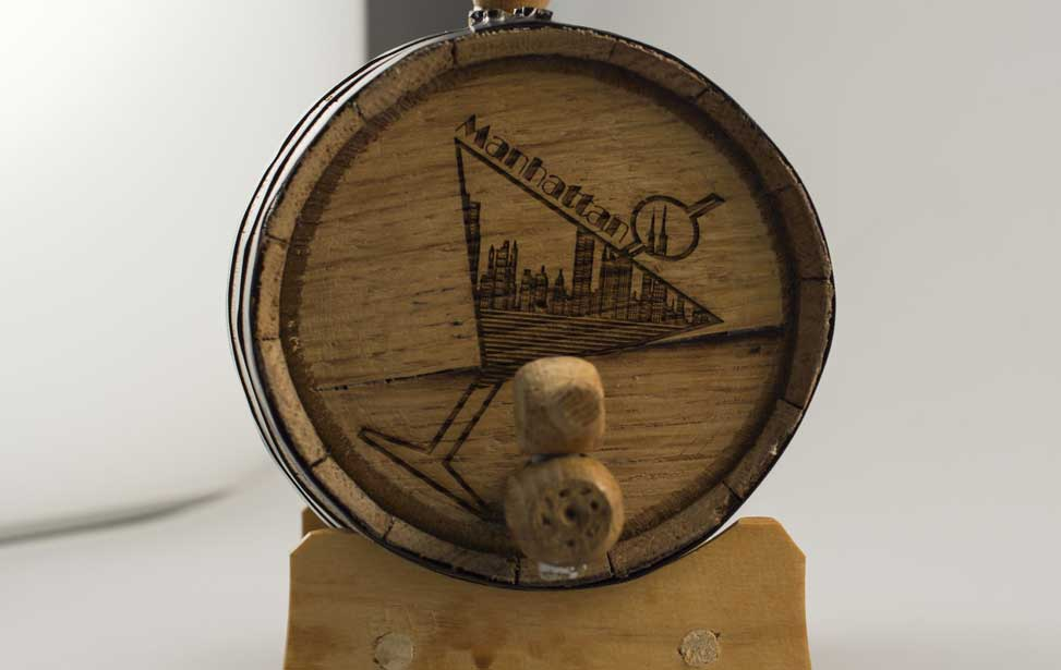 The finished whisky barrel engraving.