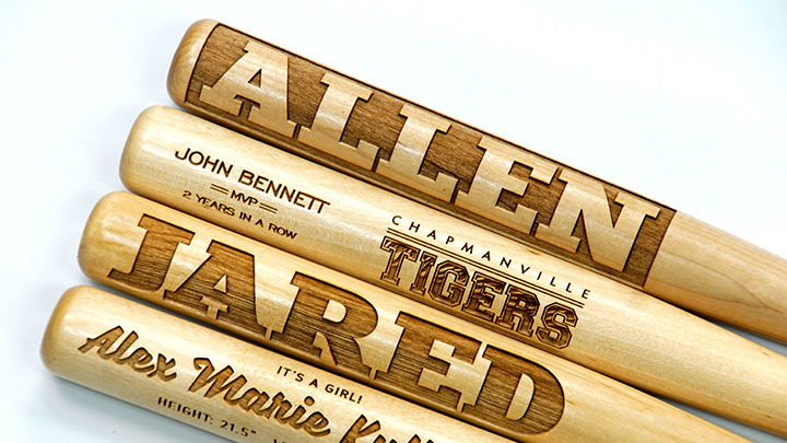laser engraved wooden mini baseball bats