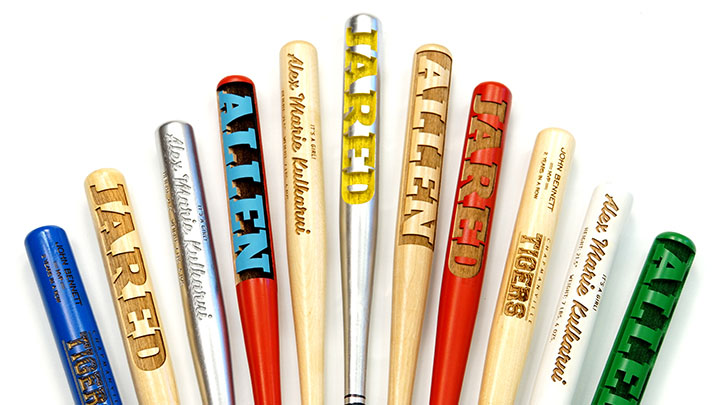 Custom laser engraved wooden mini baseball bats