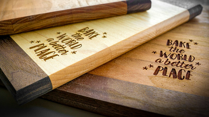 detail of engraved cutting boards