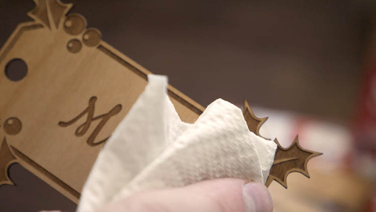 Cleaning laser cut gift tags