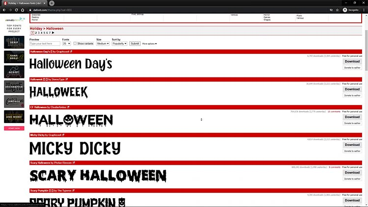 dafont free halloween fonts for laser projects