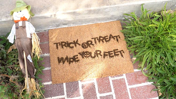 halloween doormat engraving on the doorstep