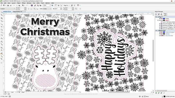 A screen shot of the holiday cards and ornaments art in corel draw