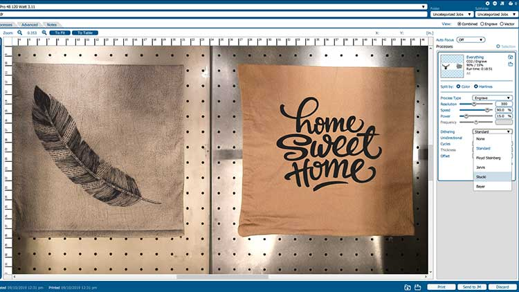 Using the Fusion Pro camera to place artwork for laser engraving pillows