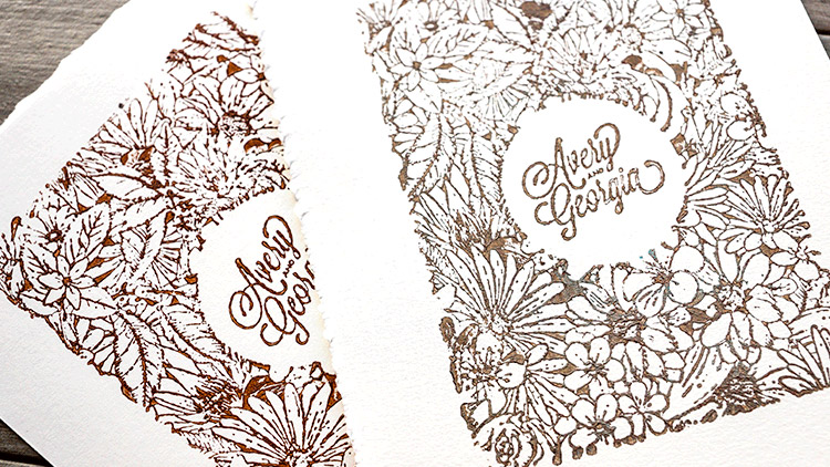 Impressions from laser engraved wooden stamps
