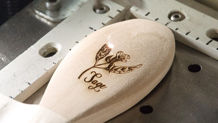 laser engraving garden markers in machine